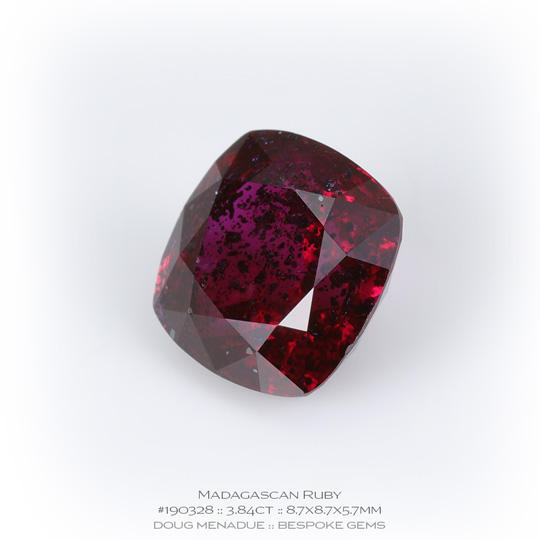 #190328, Red Ruby, Square Cushion, 3.84 Carats, 13.16X13.11X10.41mm - A beautiful natural Madagascar ruby - Doug Menadue :: Bespoke Gems - WWW.BESPOKE-GEMS.COM - Precision Gemcutting and Lapidary Services In Sydney Australia