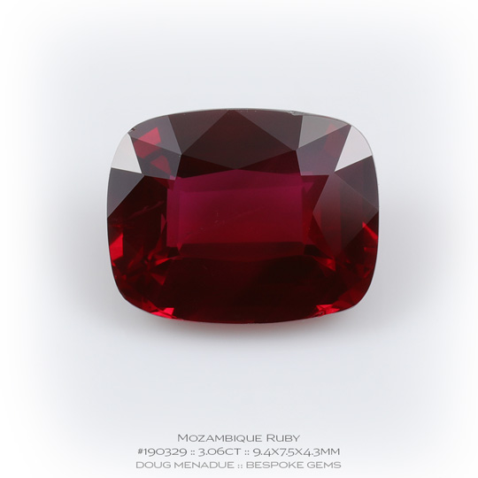 #190329, Red Ruby, Rectangle Cushion, 3.06 Carats, 13.16X13.11X10.41mm - A beautiful natural Mozambique ruby - Doug Menadue :: Bespoke Gems - WWW.BESPOKE-GEMS.COM - Precision Gemcutting and Lapidary Services In Sydney Australia