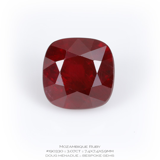 #190330, Red Ruby, Square Cushion, 3.07 Carats, 13.16X13.11X10.41mm - A beautiful natural Mozambique Mozambique - Doug Menadue :: Bespoke Gems - WWW.BESPOKE-GEMS.COM - Precision Gemcutting and Lapidary Services In Sydney Australia