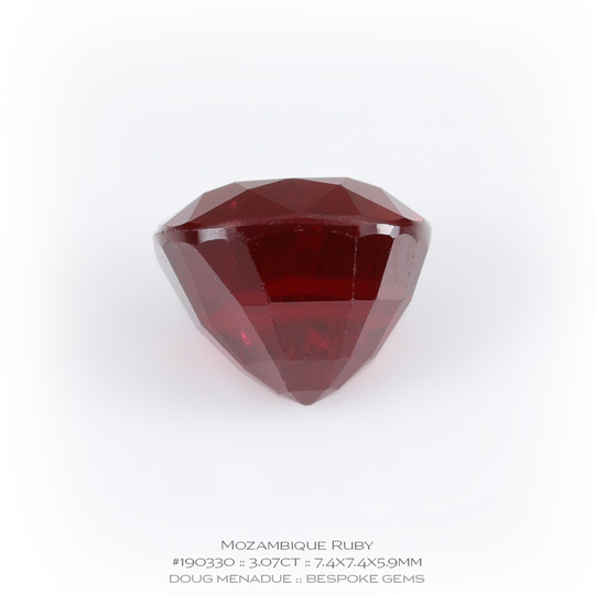 #190330, Red Ruby, Square Cushion, 3.07 Carats, 13.16X13.11X10.41mm - A beautiful natural Mozambique ruby - Doug Menadue :: Bespoke Gems - WWW.BESPOKE-GEMS.COM - Precision Gemcutting and Lapidary Services In Sydney Australia