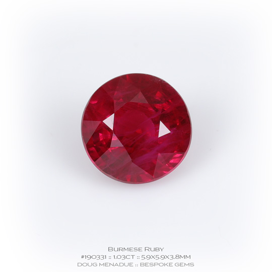#190331, Red Ruby, Round, 1.03 Carats, 13.16X13.11X10.41mm - A beautiful natural Burma ruby - Doug Menadue :: Bespoke Gems - WWW.BESPOKE-GEMS.COM - Precision Gemcutting and Lapidary Services In Sydney Australia