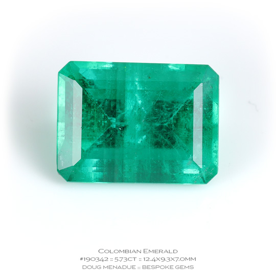#190342, Green Emerald, Emerald Cut, 5.73 Carats, 13.16X13.11X10.41mm - A beautiful natural Colombia Colombia - Doug Menadue :: Bespoke Gems - WWW.BESPOKE-GEMS.COM - Precision Gemcutting and Lapidary Services In Sydney Australia