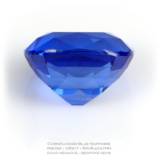 #190351, Blue Sapphire, Cushion, 3.83 Carats, 13.16X13.11X10.41mm - A beautiful natural Ceylon ruby - Doug Menadue :: Bespoke Gems - WWW.BESPOKE-GEMS.COM - Precision Gemcutting and Lapidary Services In Sydney Australia