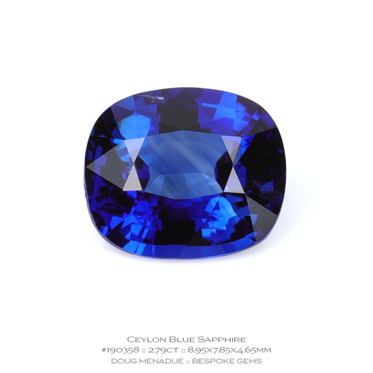 #190358, Blue Sapphire, Cushion, 2.79 Carats, 13.16X13.11X10.41mm - A beautiful natural Ceylon Ceylon - Doug Menadue :: Bespoke Gems - WWW.BESPOKE-GEMS.COM - Precision Gemcutting and Lapidary Services In Sydney Australia