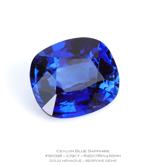#190358, Blue Sapphire, Cushion, 2.79 Carats, 13.16X13.11X10.41mm - A beautiful natural Ceylon ruby - Doug Menadue :: Bespoke Gems - WWW.BESPOKE-GEMS.COM - Precision Gemcutting and Lapidary Services In Sydney Australia
