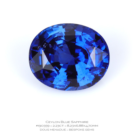 #190359, Blue Sapphire, Oval, 2.23 Carats, 13.16X13.11X10.41mm - A beautiful natural Ceylon Ceylon - Doug Menadue :: Bespoke Gems - WWW.BESPOKE-GEMS.COM - Precision Gemcutting and Lapidary Services In Sydney Australia
