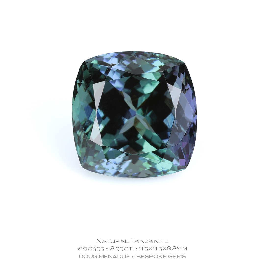#190455, Teal Blue Green Violet Tanzanite, Cushion, 8.95 Carats, 13.16X13.11X10.41mm - Doug Menadue :: Bespoke Gems - WWW.BESPOKE-GEMS.COM - Precision Gemcutting and Lapidary Services In Sydney Australia