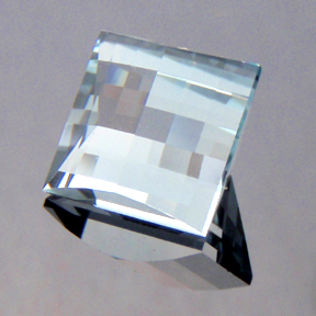 Natural Blue Topaz, Mock Check Square, Brazil, #199 - Doug Menadue :: Bespoke Gems - Master gemcutter and lapidary artist specialising in fine custom cut precision gems from a wide range of select facet gem rough. Located in Sydney, Australia.