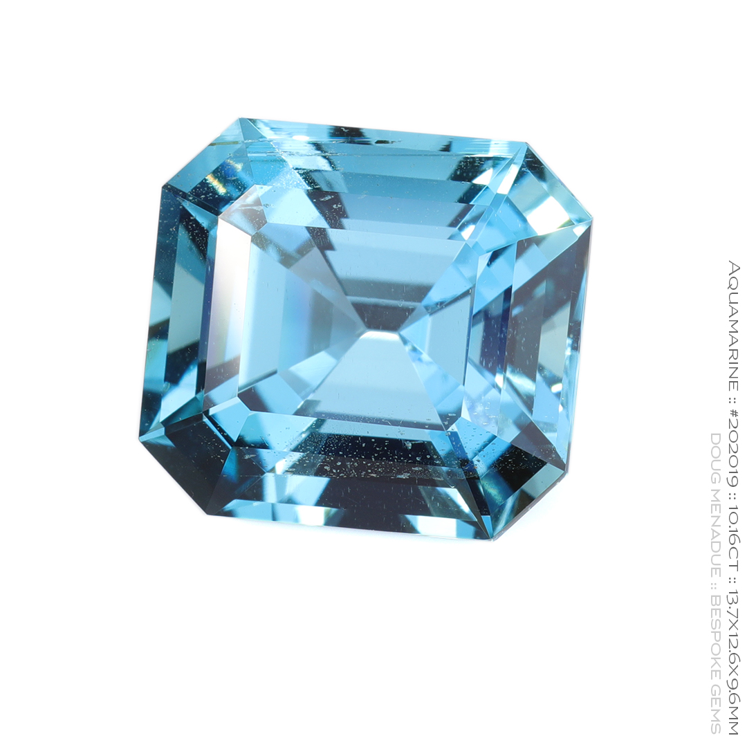 #202019, Blue Aquamarine, Asscher Step Cut, 10.16 Carats, 13.16X13.11X10.41mm - Doug Menadue :: Bespoke Gems - WWW.BESPOKE-GEMS.COM - Precision Gemcutting and Lapidary Services In Sydney Australia