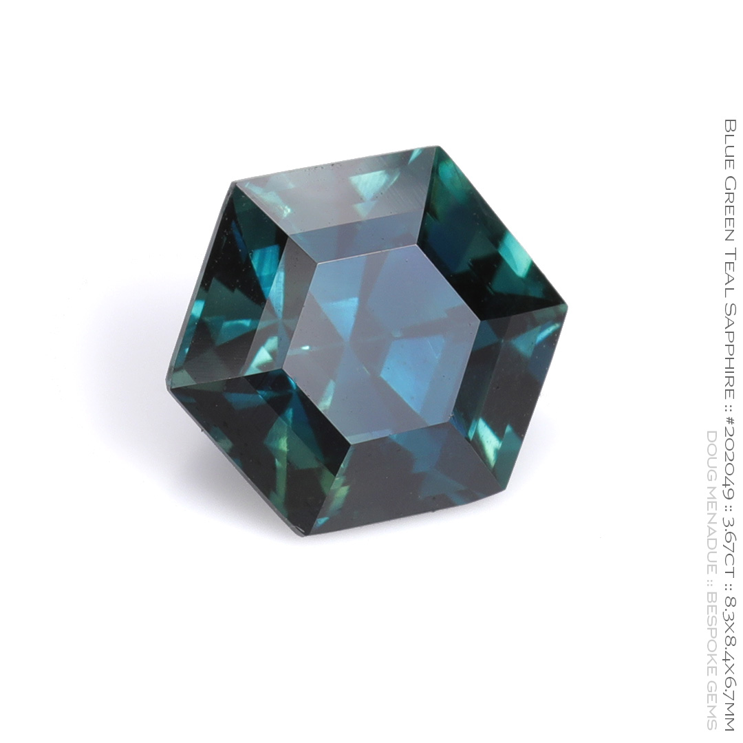 #202049, Blue Green Teal Sapphire, Hexagon Step Cut, 3.67 Carats, 13.16X13.11X10.41mm - Doug Menadue :: Bespoke Gems - WWW.BESPOKE-GEMS.COM - Precision Gemcutting and Lapidary Services In Sydney Australia