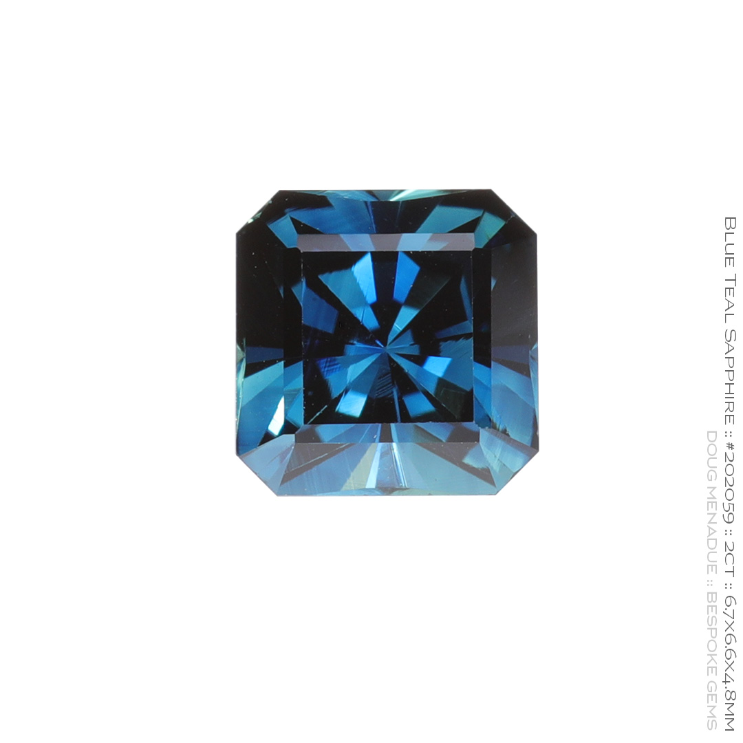 #202059, Blue Teal Sapphire, Square Radiant, 2.0 Carats, 13.16X13.11X10.41mm - Doug Menadue :: Bespoke Gems - WWW.BESPOKE-GEMS.COM - Precision Gemcutting and Lapidary Services In Sydney Australia