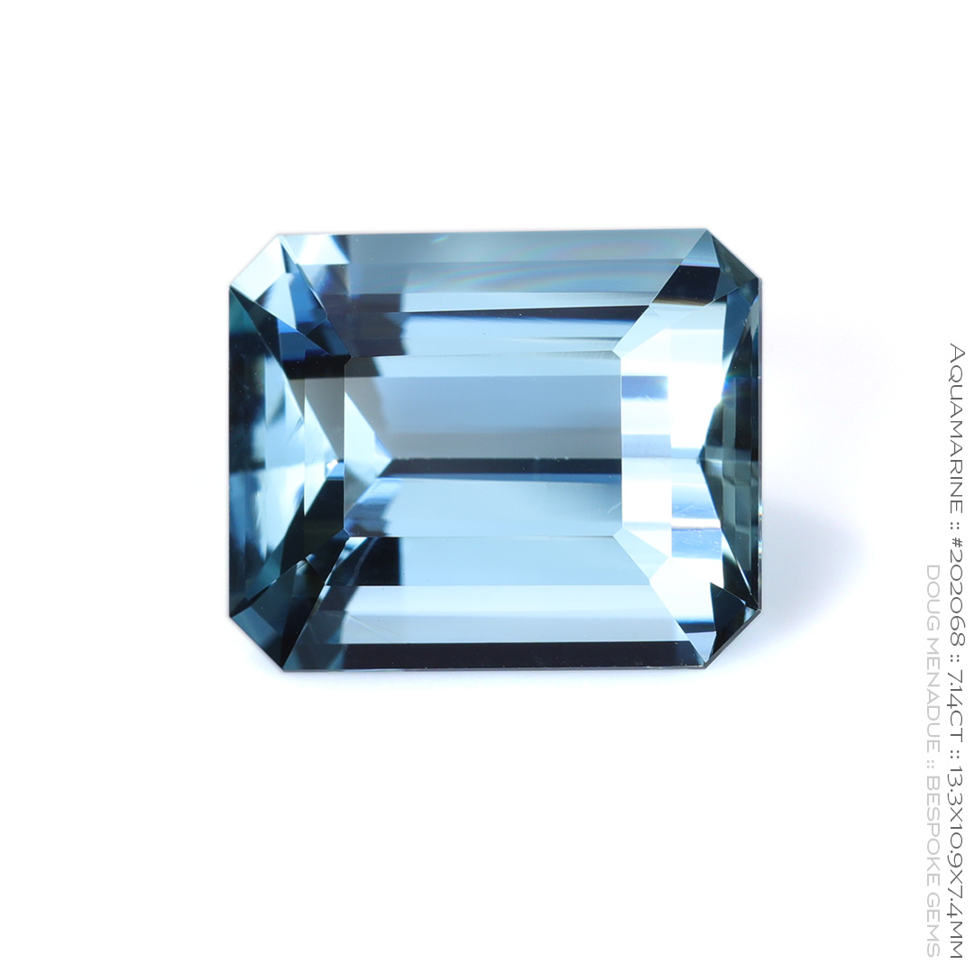 #202068, Blue Aquamarine, Emerald Cut, 7.14 Carats, 13.16X13.11X10.41mm - Doug Menadue :: Bespoke Gems - WWW.BESPOKE-GEMS.COM - Precision Gemcutting and Lapidary Services In Sydney Australia