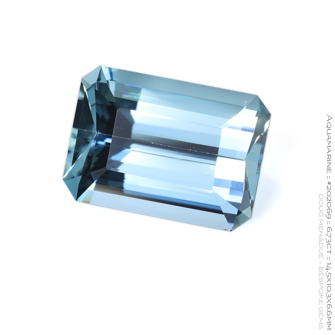 #202069, Blue Aquamarine, Emerald Cut, 6.73 Carats, 13.16X13.11X10.41mm - Doug Menadue :: Bespoke Gems - WWW.BESPOKE-GEMS.COM - Precision Gemcutting and Lapidary Services In Sydney Australia