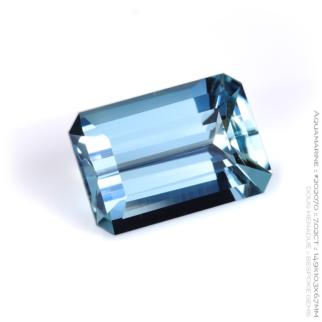 #202070, Blue Aquamarine, Emerald Cut, 7.02 Carats, 13.16X13.11X10.41mm - Doug Menadue :: Bespoke Gems - WWW.BESPOKE-GEMS.COM - Precision Gemcutting and Lapidary Services In Sydney Australia