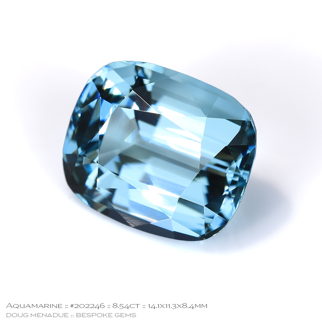 #202246, Blue Aquamarine, Cushion, 8.54 Carats, 13.16X13.11X10.41mm - Doug Menadue :: Bespoke Gems - WWW.BESPOKE-GEMS.COM - Precision Gemcutting and Lapidary Services In Sydney Australia
