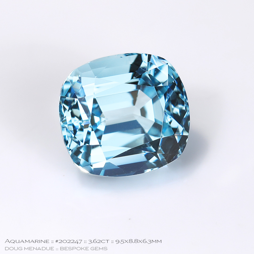 #202247, Blue Aquamarine, Cushion, 3.62 Carats, 13.16X13.11X10.41mm - Doug Menadue :: Bespoke Gems - WWW.BESPOKE-GEMS.COM - Precision Gemcutting and Lapidary Services In Sydney Australia