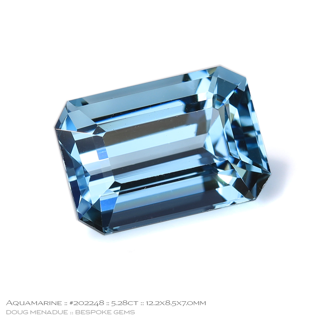 #202248, Blue Aquamarine, Emerald Cut, 5.28 Carats, 13.16X13.11X10.41mm - Doug Menadue :: Bespoke Gems - WWW.BESPOKE-GEMS.COM - Precision Gemcutting and Lapidary Services In Sydney Australia