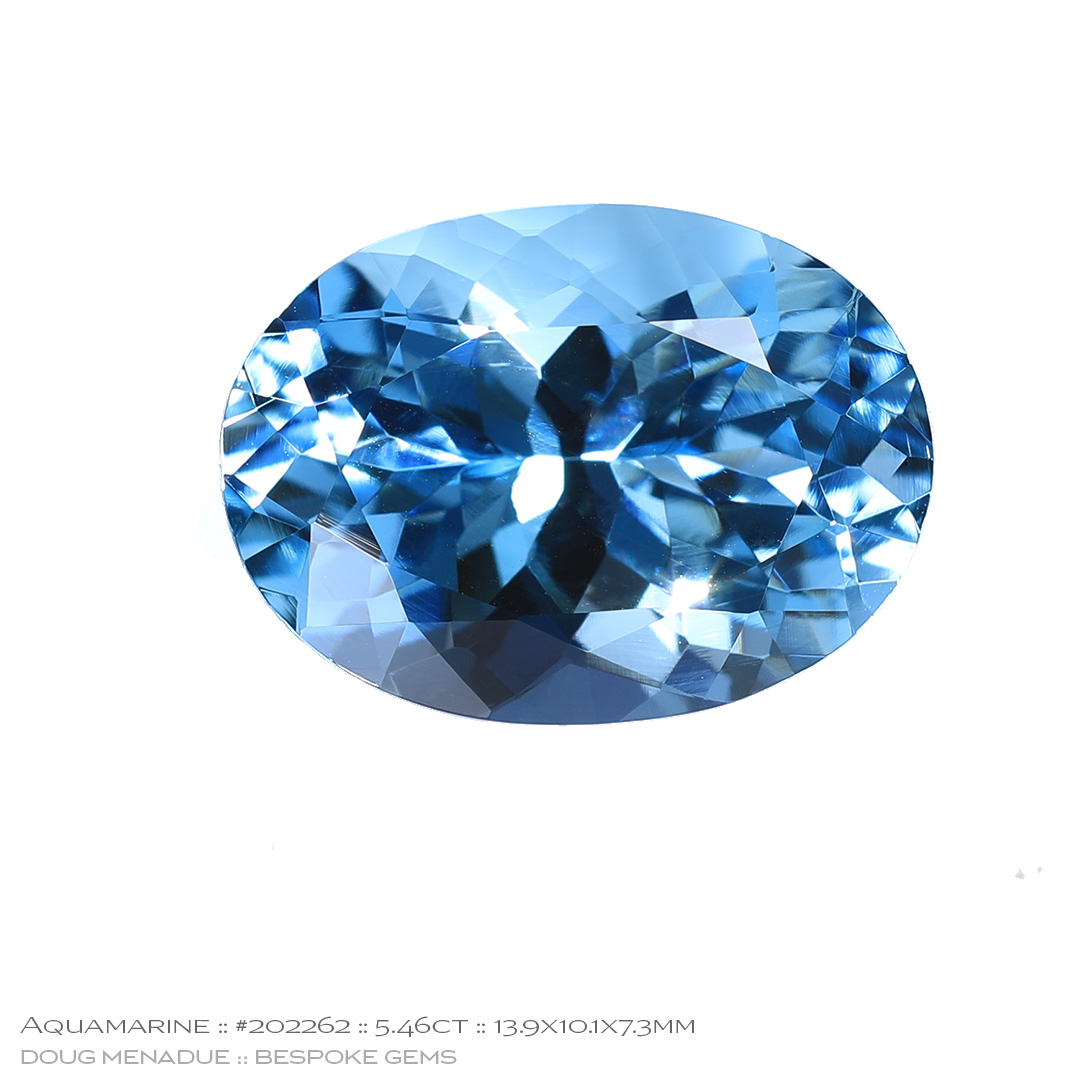 #202262, Blue Aquamarine, Oval, 5.46 Carats, 13.16X13.11X10.41mm - Doug Menadue :: Bespoke Gems - WWW.BESPOKE-GEMS.COM - Precision Gemcutting and Lapidary Services In Sydney Australia