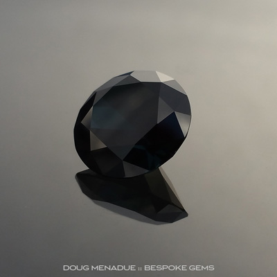 Black Sapphire, Round Brilliant, Rubyvale, Central Queensland, Australia, 6.58 Carats, 11.6X11.6X6.82mm, #203131, A magnificent natural black sapphire from the Australian sapphire gemfields. Doug Menadue :: Bespoke Gems