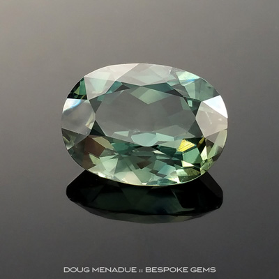 Green Sapphire, Oval, Rubyvale, Central Queensland, Australia, 7.24 Carats, 13X10X6.23mm, #203437, A gorgeous natural Green Sapphire from the Australian sapphire gemfields. Doug Menadue :: Bespoke Gems