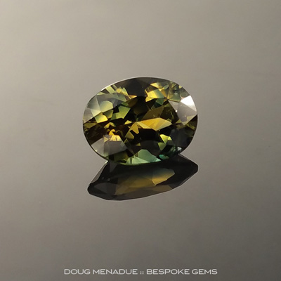 Yellow Green Parti Sapphire, Oval, Rubyvale, Central Queensland, Australia, 1.53 Carats, 7.9x5.9x4.19mm, #203438a, A intense natural Yellow Green Parti Sapphire from the Australian sapphire gemfields. Doug Menadue :: Bespoke Gems
