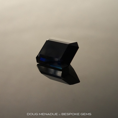 Black Sapphire, Emerald Cut, Rubyvale, Central Queensland, Australia, 5.25 Carats, 11.3X8.3X5.51mm, #203439a, A magnificent natural black sapphire from the Australian sapphire gemfields. Doug Menadue :: Bespoke Gems