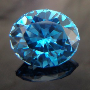 Electric Blue Topaz, KwikOval, Brazil, #248 - Doug Menadue :: Bespoke Gems - Master gemcutter and lapidary artist specialising in fine custom cut precision gems from a wide range of select facet gem rough. Located in Sydney, Australia.