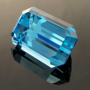 Electric Blue Topaz, Emerald Cut, Brazil, #249 - Doug Menadue :: Bespoke Gems - Master gemcutter and lapidary artist specialising in fine custom cut precision gems from a wide range of select facet gem rough. Located in Sydney, Australia.