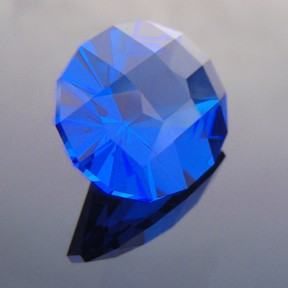 Synthetic Cobolt Blue Spinel, Birdie, #254 - Doug Menadue :: Bespoke Gems - Master gemcutter and lapidary artist specialising in fine custom cut precision gems from a wide range of select facet gem rough. Located in Sydney, Australia.