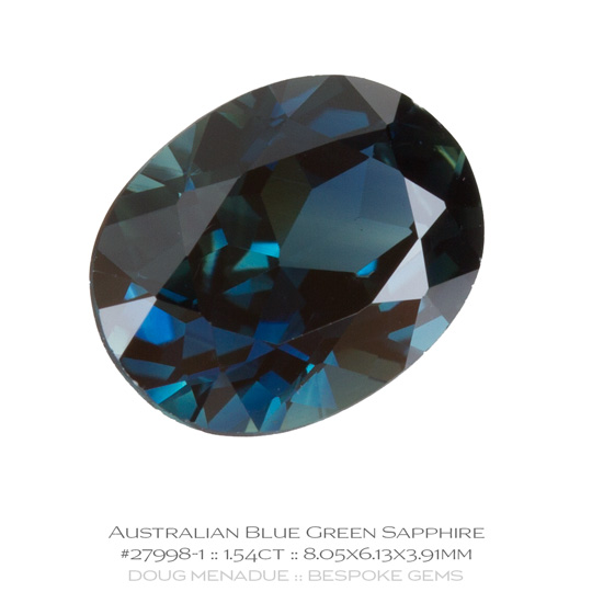 #27998-1, Blue Green Sapphire, Oval, 1.54 Carats, 13.16X13.11X10.41mm - A beautiful natural Rubyvale, Central Queensland, Australian Sapphire - Doug Menadue :: Bespoke Gems - WWW.BESPOKE-GEMS.COM - Precision Gemcutting and Lapidary Services In Sydney Australia