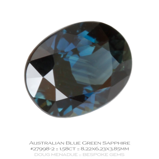 #27998-2, Blue Green Sapphire, Oval, 1.58 Carats, 13.16X13.11X10.41mm - A beautiful natural Rubyvale, Central Queensland, Australian Sapphire - Doug Menadue :: Bespoke Gems - WWW.BESPOKE-GEMS.COM - Precision Gemcutting and Lapidary Services In Sydney Australia