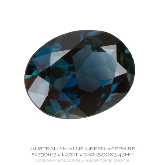 #27998-3, Blue Green Sapphire, Oval, 1.27 Carats, 13.16X13.11X10.41mm - A beautiful natural Rubyvale, Central Queensland, Australian Sapphire - Doug Menadue :: Bespoke Gems - WWW.BESPOKE-GEMS.COM - Precision Gemcutting and Lapidary Services In Sydney Australia