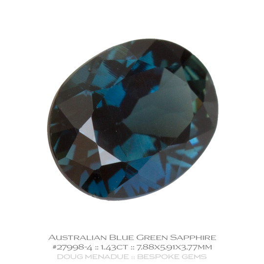 #27998-4, Blue Green Sapphire, Oval, 1.43 Carats, 13.16X13.11X10.41mm - A beautiful natural Rubyvale, Central Queensland, Australian Sapphire - Doug Menadue :: Bespoke Gems - WWW.BESPOKE-GEMS.COM - Precision Gemcutting and Lapidary Services In Sydney Australia