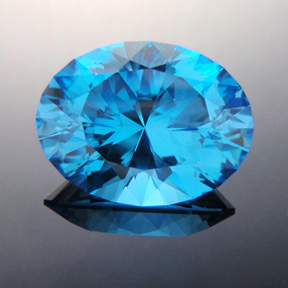 Electric Blue Topaz, Ten Main Oval, Brazil, #332 - Doug Menadue :: Bespoke Gems - Master gemcutter and lapidary artist specialising in fine custom cut precision gems from a wide range of select facet gem rough. Located in Sydney, Australia.