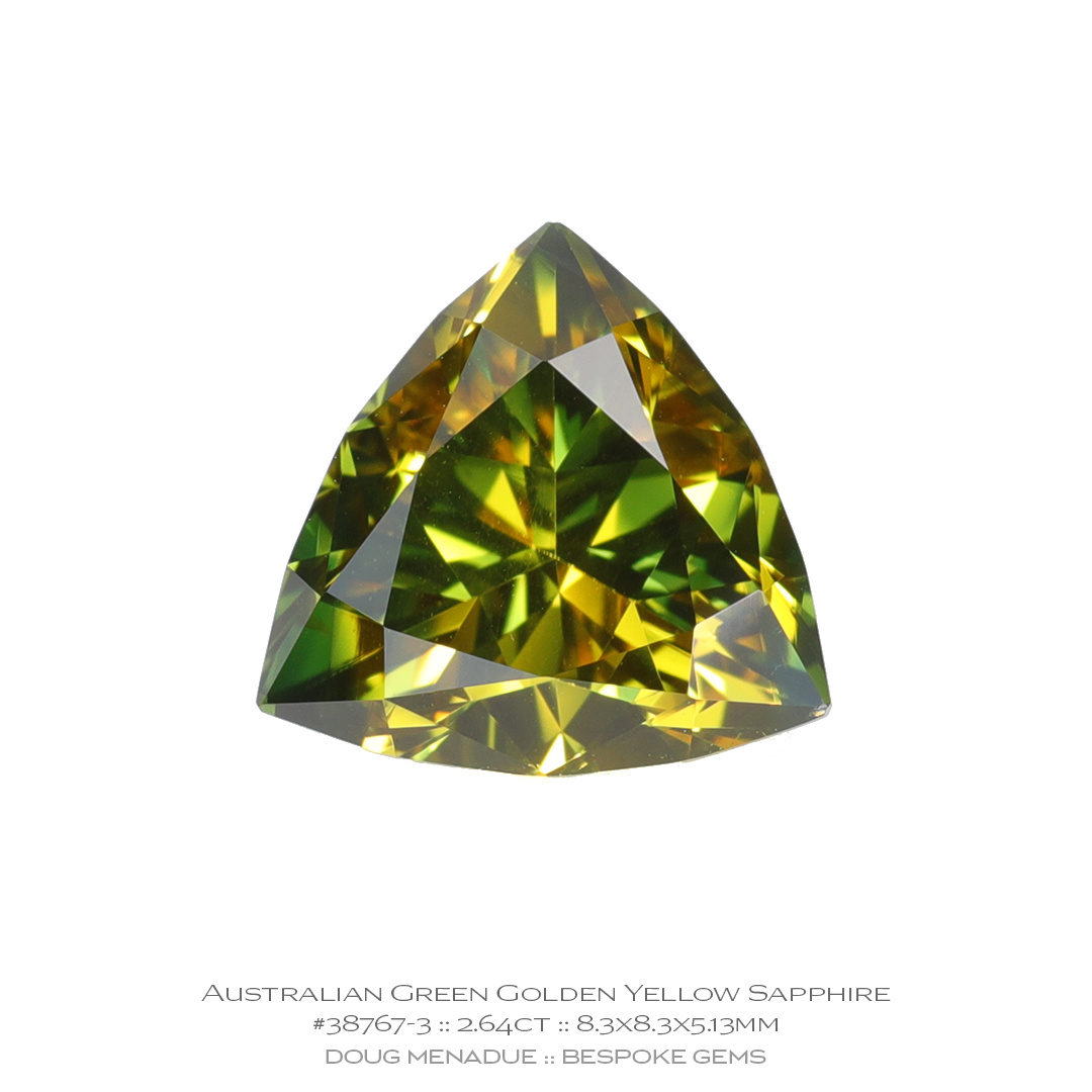 #38767-3, Green Golden Yellow Sapphire, Trillion, 2.64 Carats, 13.16X13.11X10.41mm - Doug Menadue :: Bespoke Gems - WWW.BESPOKE-GEMS.COM - Precision Gemcutting and Lapidary Services In Sydney, Australia