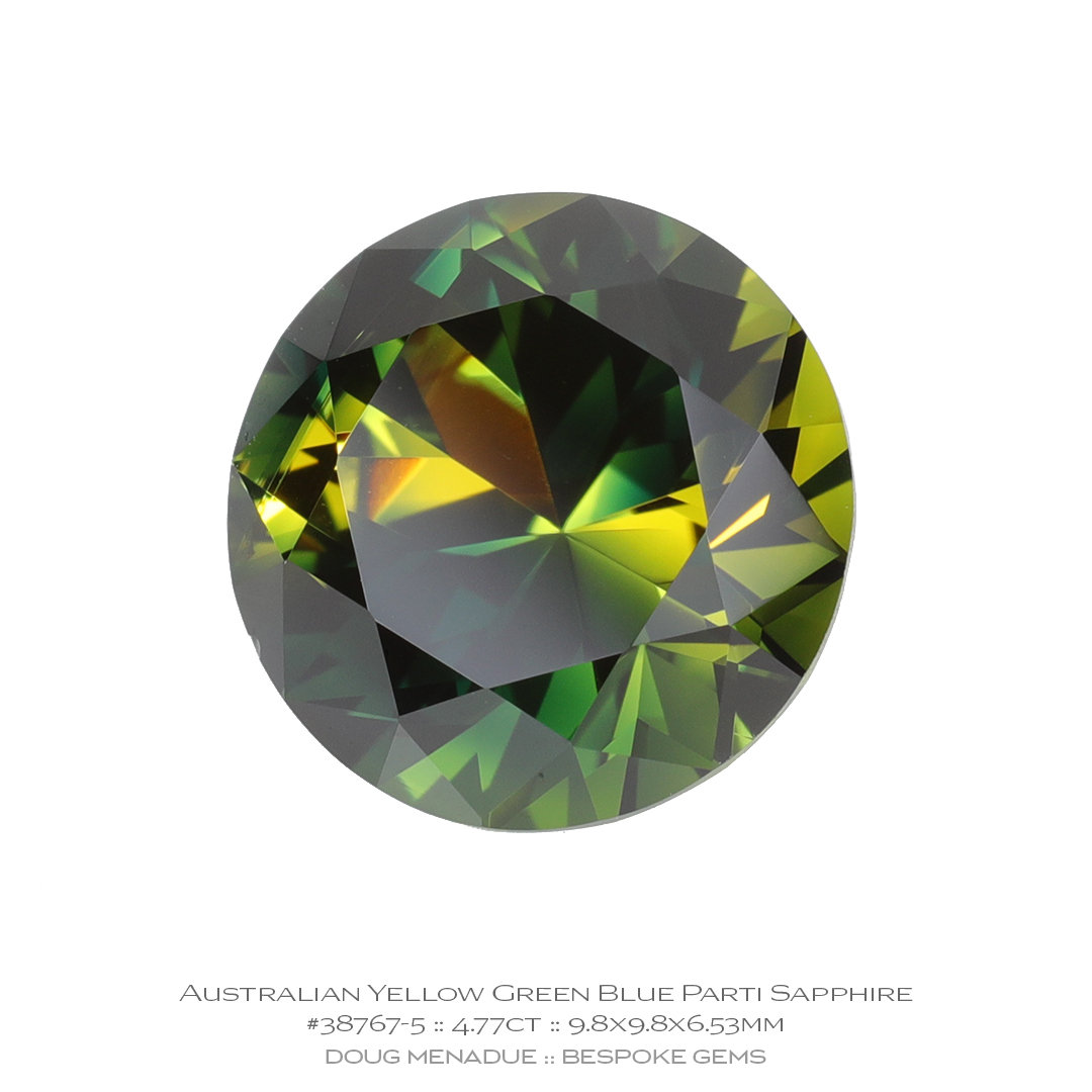 #38767-5, Yellow Green Blue Parti Sapphire, Round Brilliant, 4.77 Carats, 13.16X13.11X10.41mm - Doug Menadue :: Bespoke Gems - WWW.BESPOKE-GEMS.COM - Precision Gemcutting and Lapidary Services In Sydney, Australia