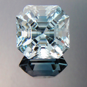 Natural Blue Topaz, Asscher Cut, O'Briens Creek, Australia, #402 - Doug Menadue :: Bespoke Gems - Master gemcutter and lapidary artist specialising in fine custom cut precision gems from a wide range of select facet gem rough. Located in Sydney, Australia.