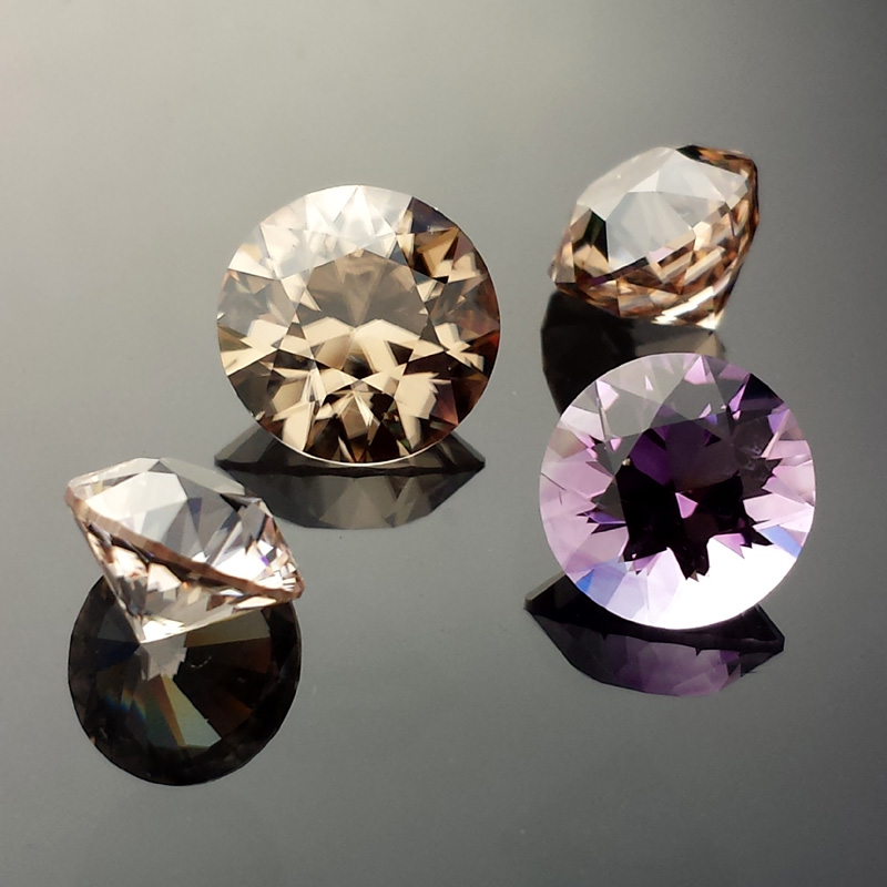 Zircon and Amethyst, Round Brilliant, Harts Ranges, Northern Territory and Binbee, Queensland, Australia, #579