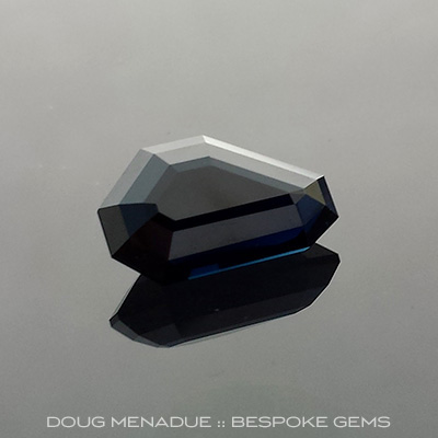 Cobolt Blue Sapphire, Freeform, Lava Plains, Australia, #649 - Doug Menadue :: Bespoke Gems - Master gemcutter and lapidary artist specialising in fine custom cut precision gems from a wide range of select facet gem rough. Located in Sydney, Australia.