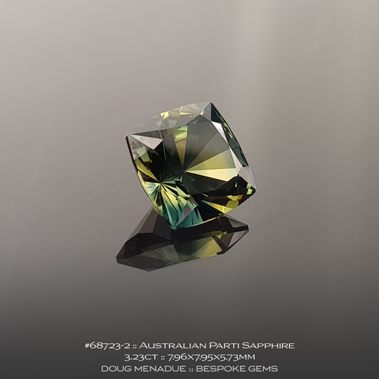 68723-2, Australian Sapphire, Square Cushion, 3.23 Carats, 7.96X7.95X5.73mm, Parti Colour - Yellow Green Teal - A beautiful natural Australian Sapphire from the gemfields around Rubyvale, Central Queensland, Australia - Doug Menadue :: Bespoke Gems :: WWW.BESPOKE-GEMS.COM - Finest Quality Precision Custom Gemcutting and Lapidary Services Based In Sydney Australia