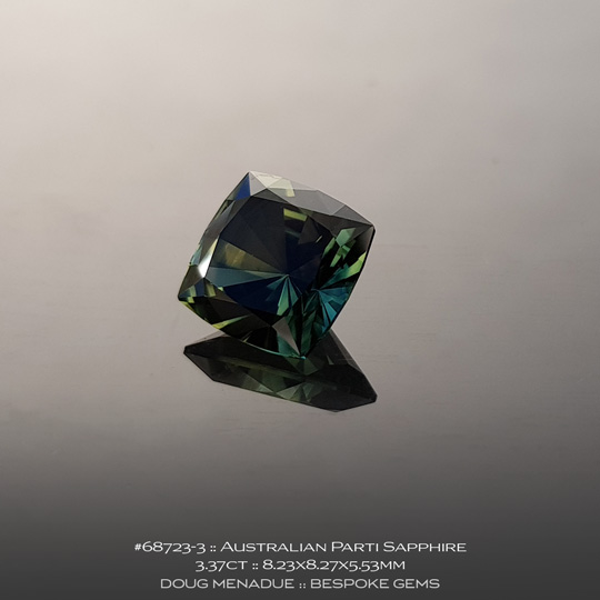 68723-3, Australian Sapphire, Square Cushion, 3.37 Carats, 8.23X8.27X5.53mm, Parti Colour - Yellow Green Teal - A beautiful natural Australian Sapphire from the gemfields around Rubyvale, Central Queensland, Australia - Doug Menadue :: Bespoke Gems :: WWW.BESPOKE-GEMS.COM - Finest Quality Precision Custom Gemcutting and Lapidary Services Based In Sydney Australia
