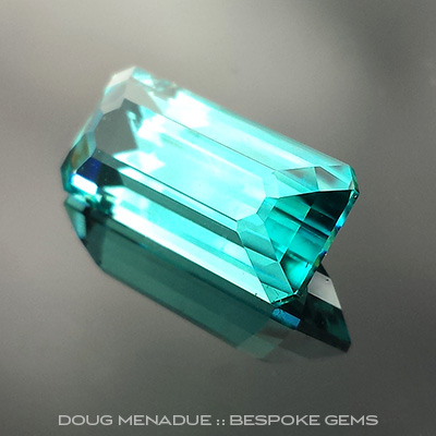 Blue Tourmaline, Brazil, Emerald Step Cut, #709 - Doug Menadue :: Bespoke Gems - Master gemcutter and lapidary artist specialising in fine custom cut precision gems from a wide range of select facet gem rough. Located in Sydney, Australia.