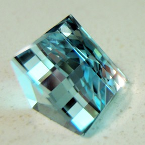 Topaz (Natural Blue), Mock Check Square, O'Briens Creek, Mt Surprise, Australia, #72 - Doug Menadue :: Bespoke Gems - Master gemcutter and lapidary artist specialising in fine custom cut precision gems from a wide range of select facet gem rough. Located in Sydney, Australia.
