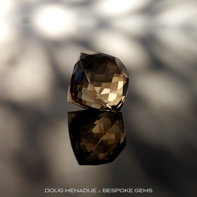 A beautiful large Smokey Quartz, O'Briens Creek, North Queensland, Australia, Portuguese Double Rose, 16.13x16.13x16.15mm, 21.42ct, Precision hand faceted by Doug Menadue :: Bespoke Gems - Finest Precision Custom Gemcutting Based In Sydney Australia
