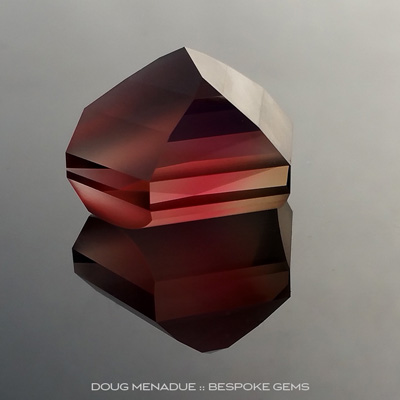 An outstanding rubelllite tourmaline that has been cut in a very contemporary design combining polished and frosted surfaces, Precision hand faceted by Doug Menadue :: Bespoke Gems