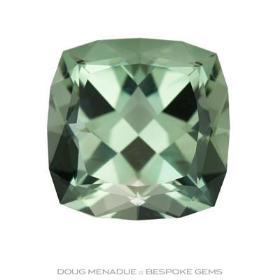 A beautiful large Prasiolite, Brazil, Four Square Brilliant, 18.64x18.64x12.98mm, 25.14ct, Precision hand faceted by Doug Menadue :: Bespoke Gems - Finest Precision Custom Gemcutting Based In Sydney Australia