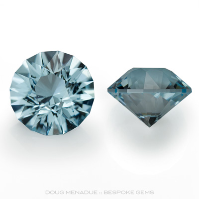 A beautiful matched pair of natural blue topaz, 9.03 total carats, Precision hand faceted by Doug Menadue :: Bespoke Gems