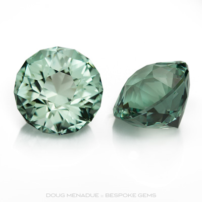 An exceptionally fine and stunning matched pair of natural aquamarines, 12.48 total carats, 11.5mm, Precision hand faceted by Doug Menadue :: Bespoke Gems - Master gemcutter and lapidary artist specialising in fine custom cut precision gems from a wide range of select facet gem rough. Located in Sydney, Australia.