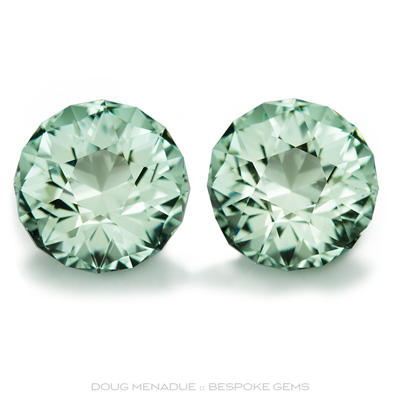 An exceptionally fine and stunning matched pair of natural aquamarines, 12.48 total carats, 11.5mm, Precision hand faceted by Doug Menadue :: Bespoke Gems