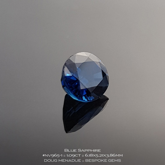 #nv965-1, Blue Sapphire, Oval, 1.09 Carats, 13.16X13.11X10.41mm - A beautiful natural Inverell, Australia or Cambodian Sapphire - Doug Menadue :: Bespoke Gems - WWW.BESPOKE-GEMS.COM - Precision Gemcutting and Lapidary Services In Sydney Australia